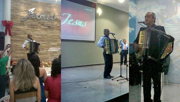 Raimundo Santos em apresentação nas igrejas Assembleia de Deus Mangueirão II, no Benguí; Assembleia de Deus Catedral da Unção, no bairro do Jurunas; e Assembleia de Deus Raul Soares, na Marambaia.
